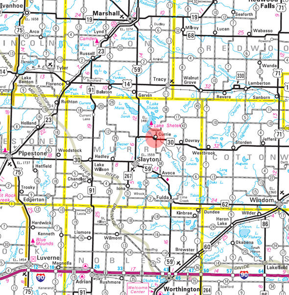 Minnesota State Highway Map of the Currie Minnesota area