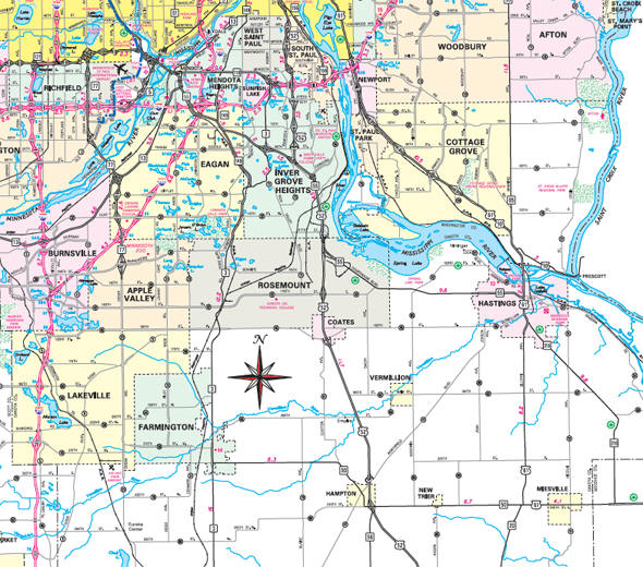 Minnesota State Highway Map of the Dakota County area