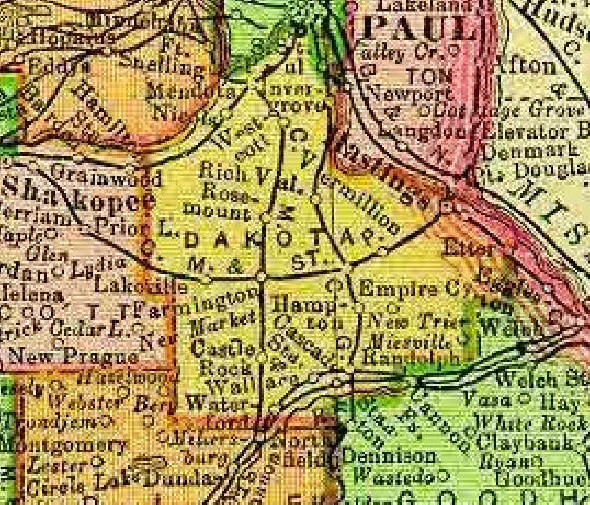 1895 Map of Dakota County Minnesota