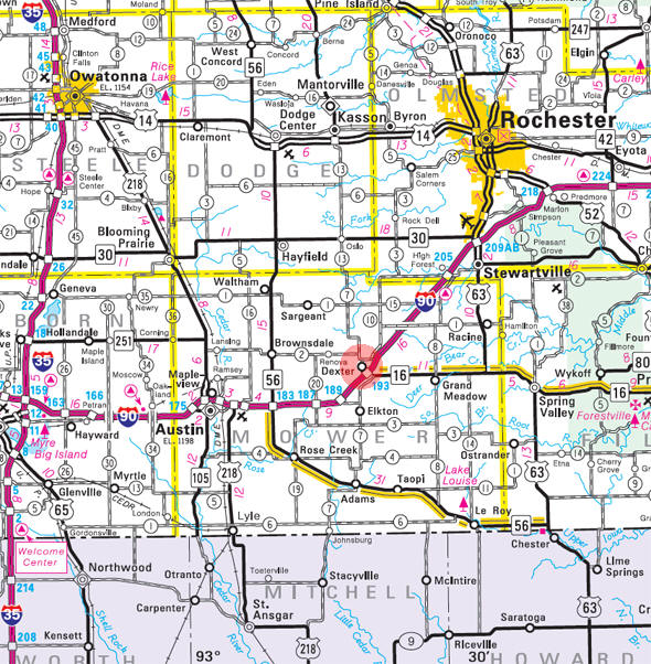 Minnesota State Highway Map of the Dexter Minnesota area