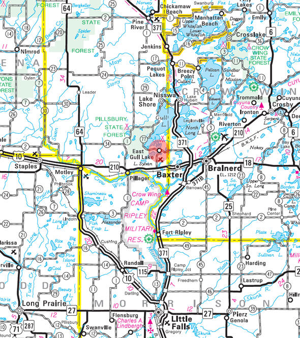Minnesota State Highway Map of the East Gull Lake Minnesota area