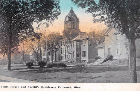 Courthouse and Sheriff's Residence, Fairmont Minnesota, 1910's
