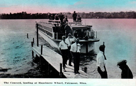 The Concord landing at Hazelmere Wharf, Fairmont Minnesota, 1914