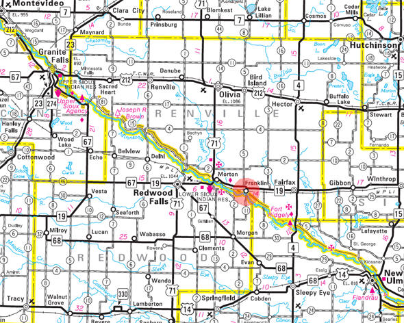Minnesota State Highway Map of the Franklin Minnesota area