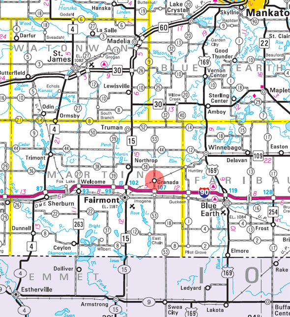 Minnesota State Highway Map of the Granada Minnesota area
