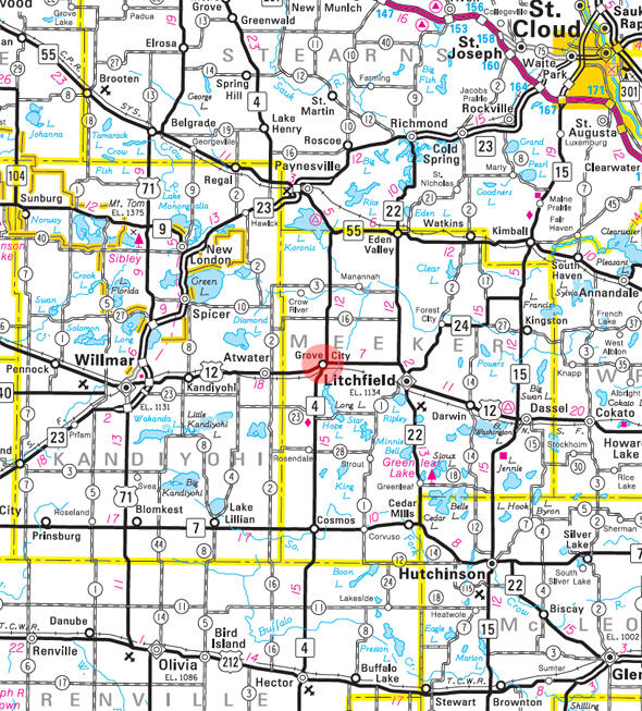 Minnesota State Highway Map of the Grove City Minnesota area