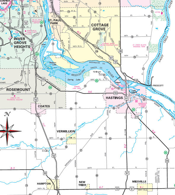 Minnesota State Highway Map of the Hastings Minnesota area