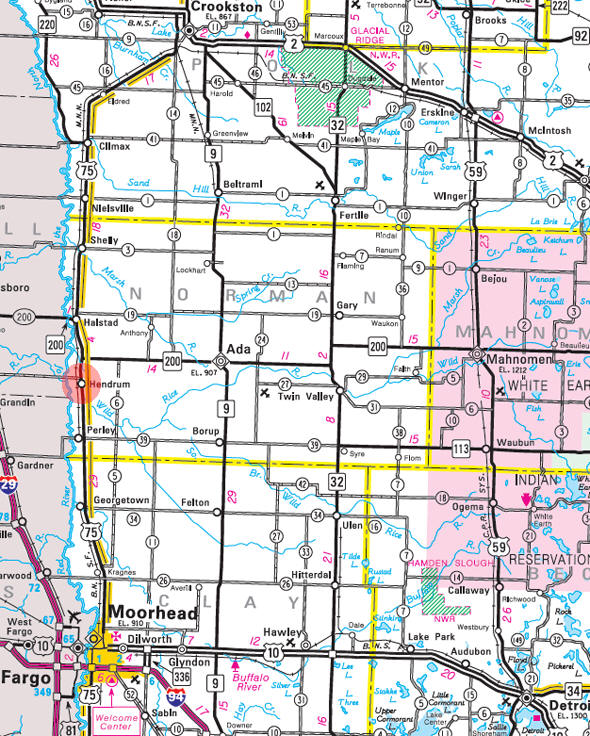 Minnesota State Highway Map of the Hendrum Minnesota area