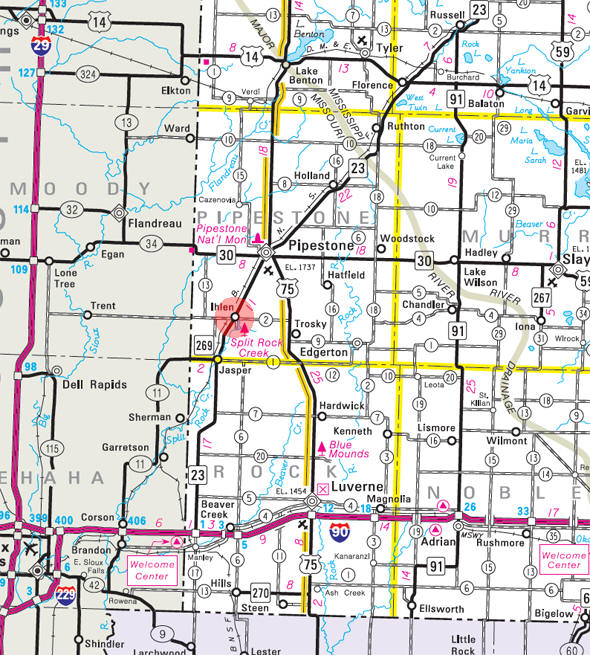 Minnesota State Highway Map of the Ihlen Minnesota area