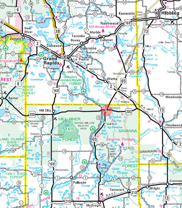 Minnesota State Highway Map of the Jacobson Minnesota area
