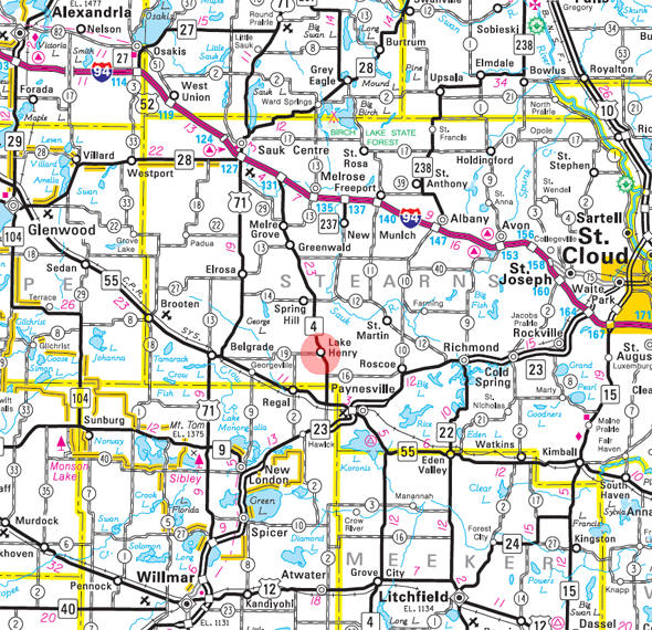 Minnesota State Highway Map of the Lake Henry Minnesota area