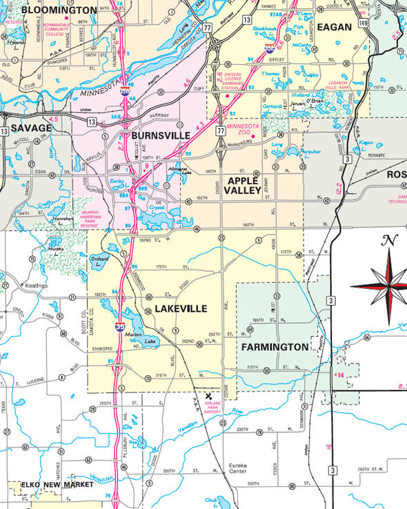 Minnesota State Highway Map of the Lakeville Minnesota area