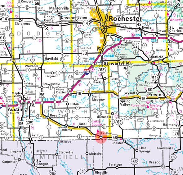 Minnesota State Highway Map of the Le Roy Minnesota area