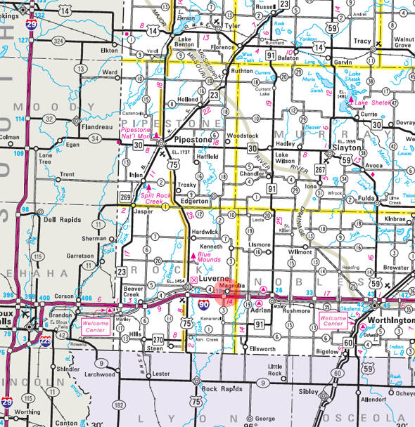 Minnesota State Highway Map of the Magnolia Minnesota area