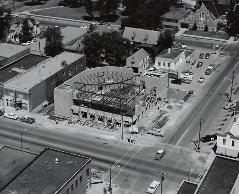 Bank under construction, 4th and Main, Marshall Minnesota, late 1950's