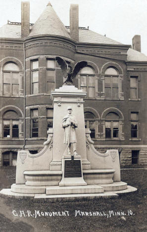 GAR Monument in front of the Lyon County Courthouse in Marshall Minnesota, 1911