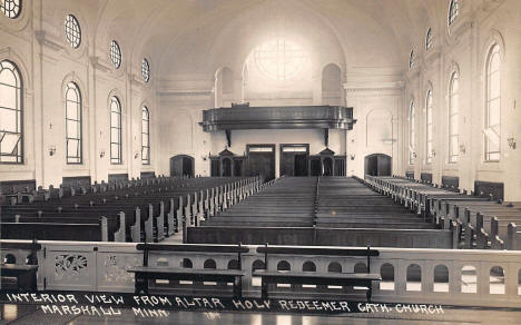 Interior view from the altar, Holy Redeemer Catholic Church, Marshall Minnesota, 1920's