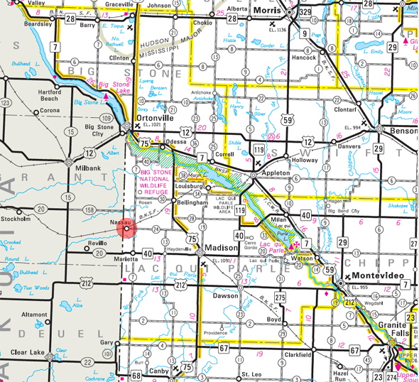 Minnesota State Highway Map of the Nassau Minnesota area