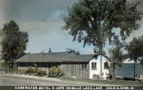 Edgewater Motel and Cafe on Mille Lacs Lake, Onamia Minnesota, 1940's