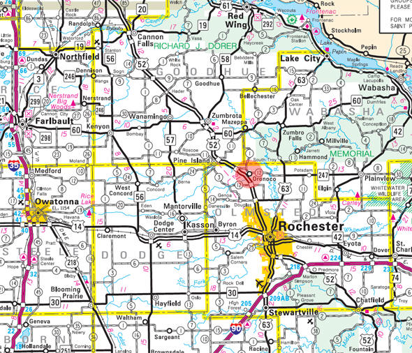 Minnesota State Highway Map of the Oronoco Minnesota area