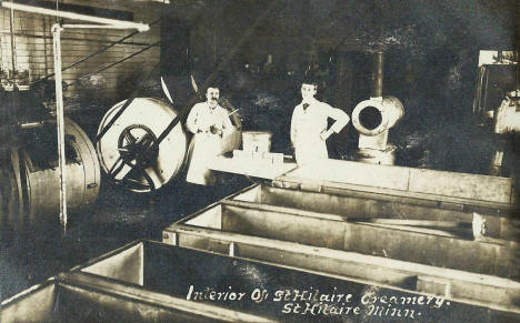Interior of St. Hilaire Creamery, St. Hilaire Minnesota, 1905