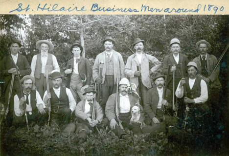 Shooting party composed of local business men, St. Hilaire, Minnesota, 1890