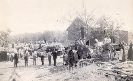 Peltz and Petermann Threshing Crew on the Stenger Farm near Victoria Minnesota, 1900's