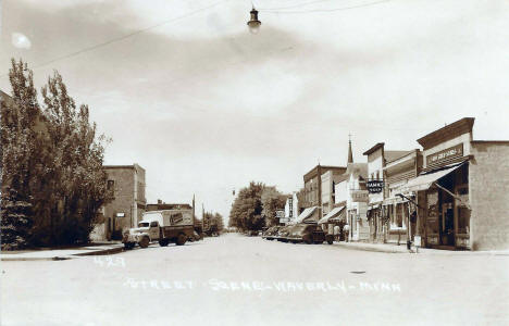 Street scene, Waverly Minnesota, 1940's