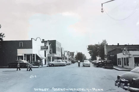 Street scene, Waverly Minnesota, 1950's