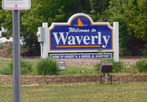 Welcome sign, Waverly Minnesota, 2020