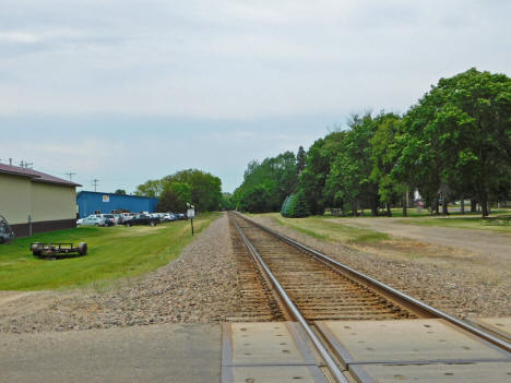Burlington Northern railroad tracks looking west from 4th Street, Waverly Minnesota, 2020