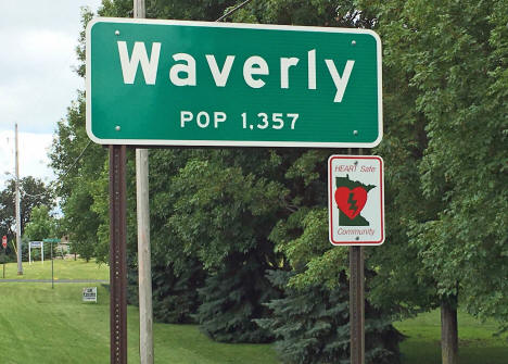 Population sign, Waverly Minnesota, 2016