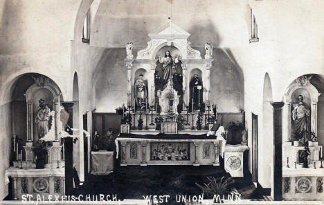 Interior, St. Alexius Church, West Union Minnesota, 1920's