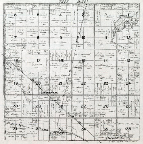 Plat map of Eckles Township in Beltrami County Minnesota, 1916