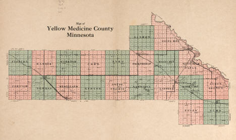 Map of Yellow Medicine County, 1929