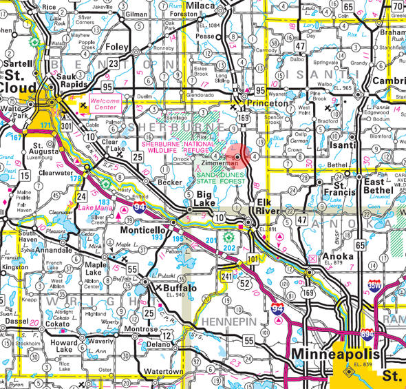 Minnesota State Highway Map of the Zimmerman Minnesota area
