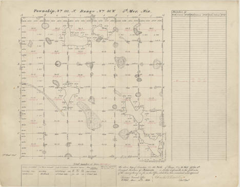 Original survey map of Township 113 W Range 40 N from 1859