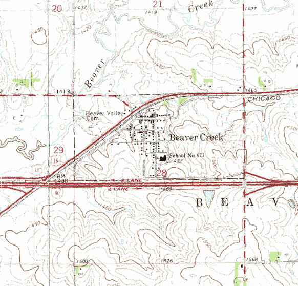 Topographic map of the Beaver Creek Minnesota area