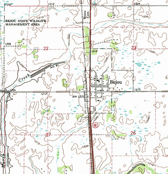 Topographic map of the Bejou Minnesota area