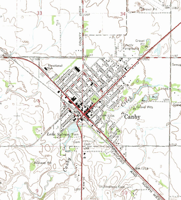 Topographic map of the Canby Minnesota area