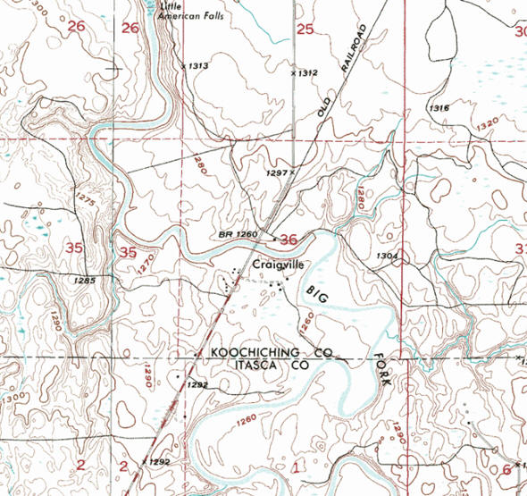 Topographic map of the Craigville Minnesota area