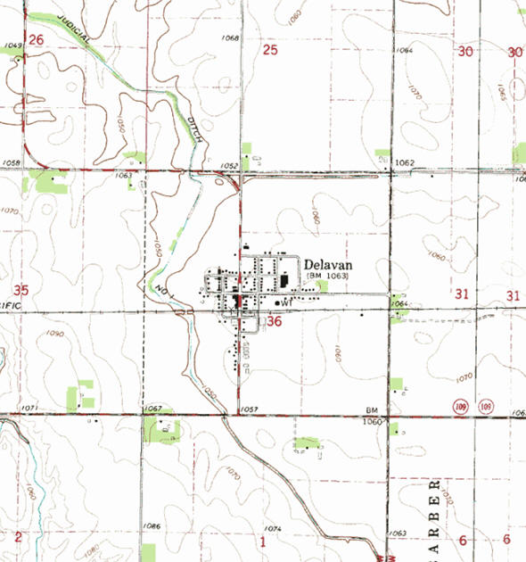 Topographic map of the Delavan Minnesota area