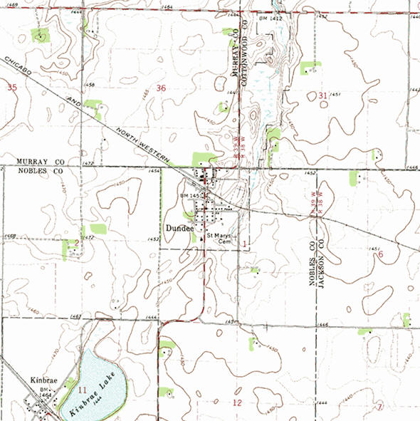 Topographic map of the Dundee Minnesota area