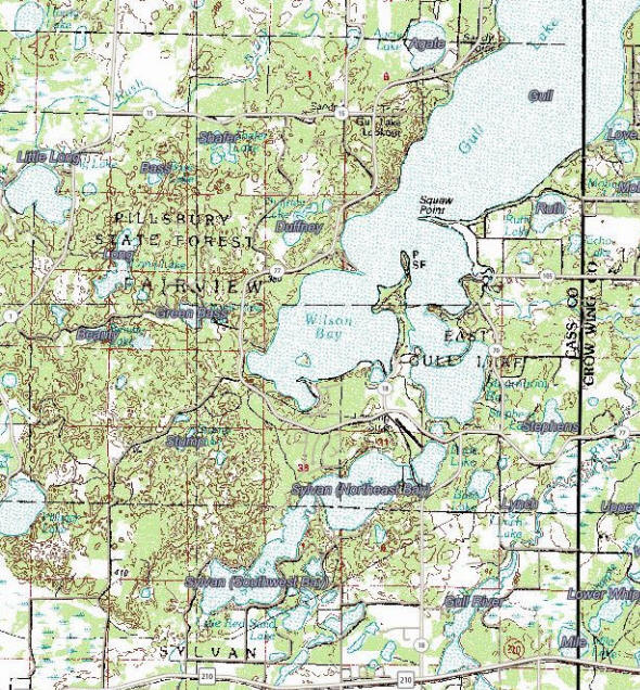 Topographic map of the East Gull Lake Minnesota area