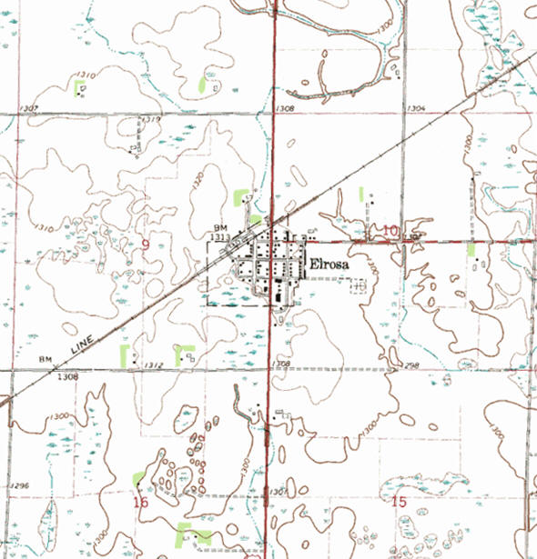 Topographic map of the Elrosa Minnesota area