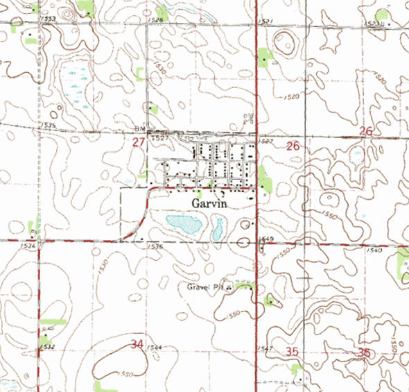 Topographic map of the Garvin Minnesota area
