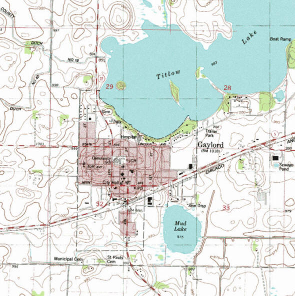 Topographic map of the Gaylord Minnesota area