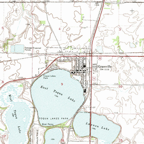 Topographic map of the Graceville Minnesota area