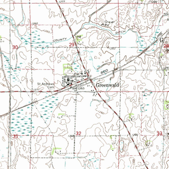 Topographic map of the Greenwald Minnesota area