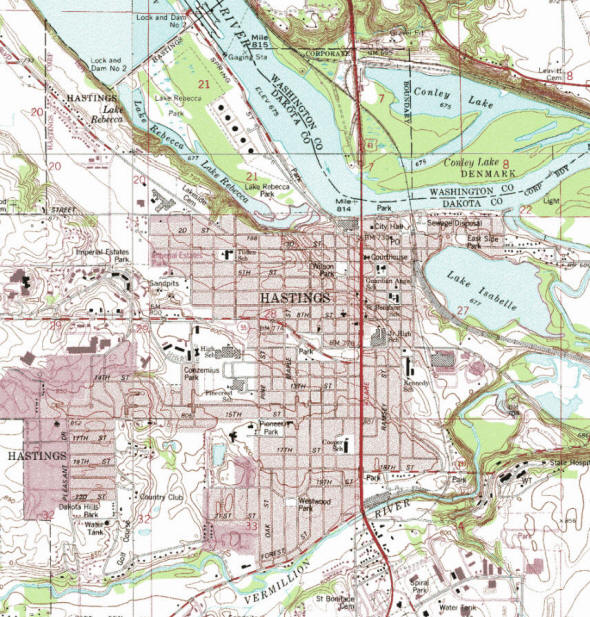 Topographic map of the Hastings Minnesota area